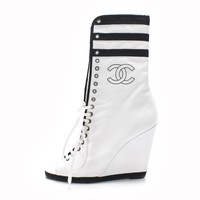 ca spbest Chanel White and Black Canvas  CC  Stitched Peep Toe Wedge Sneaker Boots Sz 36