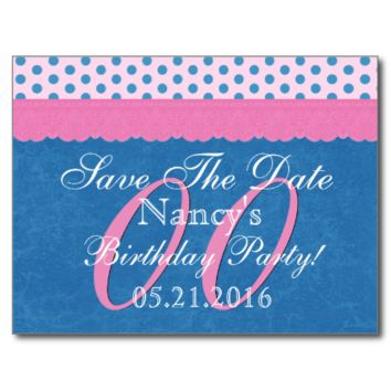 Save the Date Any Year Birthday Blue Polka Dot P06 Post Card
