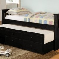 Coaster Day Bed with Trundle Mission Style in Black Finish, Black
