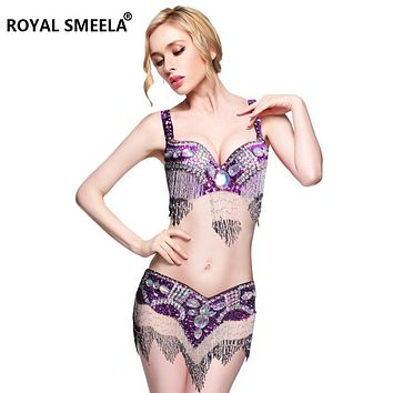 Hot Sale Women's belly dance set costume belly dancing clothes Sexy Night dance bellydance Carnival Tops Chain  BRA Belt WY8608