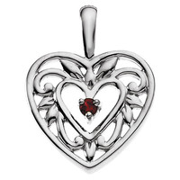 1 to 5 Birthstone Filigree Heart Sterling Silver Pendant Necklace