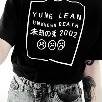 YUNG LEAN UNKNOWN DEATH Graphic T-Shirt Casual High Quality Crewneck Women Hipster Funny Cotton Grunge Aesthetic t shirt Tees