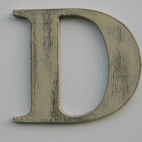 """Wooden Letter Rustic Wall Hanging Letter D 12"""" Painted Weathered Butter Cream Distressed Style"""