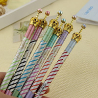 1PCS Crown Style Ballpoint Pens Gel Pen Metal Ball Pen School Children Students and Office Supplies 6 Colors Random 0.5MM Refill