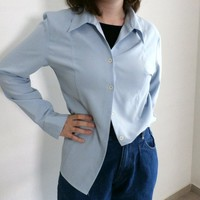 Vintage 90s Blue Shirt, Size M, Classic Buttondown Blouse, Long sleeve, Baby Blue Formal Women blouse, Collared Shirt, Secretary Blouse