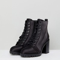 Miss Selfridge Lace Up Block Heel Ankle Boot at asos.com