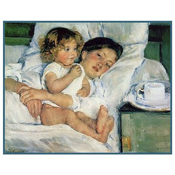 Breakfast in Bed by American impressionist artist Mary Cassatt Counted Cross Stitch Pattern