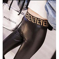 FENDI Fashion New PU Leather High Waist Stretch Trousers Pants Women Black