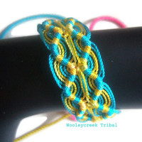 Friendship Bracelet Peruvian Double Zigzag Turquoise And Yellow