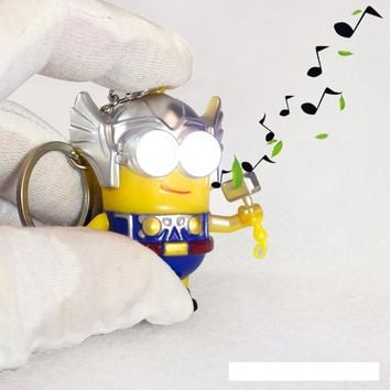 Cartoon Movie 3D talk Minions say i love you Keyring,Cos The thor minions led keychain,Figure Toys Christmas gift