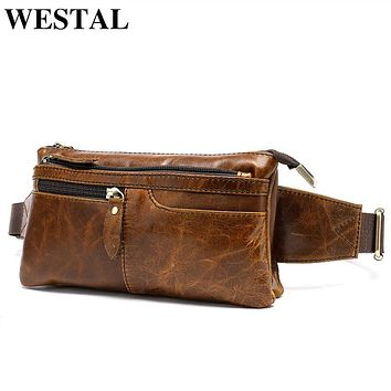 WESTAL Genuine Leather Chest Bags Leather Bag Belt Men Phone Pouch Bags Travel Waist Pack Male Waist Bag Belt  8943