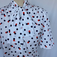 Cute PYKETTES Vintage Neck Scarf Bow Blouse / Polka Dots / Red White Blue / LARGE