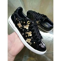 Louis Vuitton LV Women Fashion New Floral Leather Leisure High Quality Shoes Black