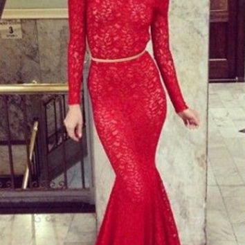New Arrival Red Lace Prom Dresses Backless Long Sleeve Mermaid Bateau Court Train Evening Gowns