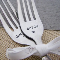 Bride & Groom Hand Stamped Fork Set / Couples Gift / Wedding Cake Forks / Wedding Decor