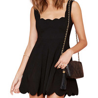 Scalloped Sleeveless Pleated Mini Dress