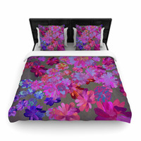 "Marianna Tankelevich ""Purple Flowers"" Pink Blue Woven Duvet Cover"