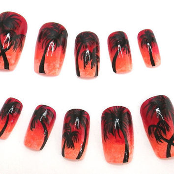 Nail Art Ombre Sunset Palm Tree by NailKandy on Etsy