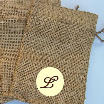 Set of 4 - Burlap Treat Bags Rustic Shabby Chic Wood Initial Personalized Goodies Natural Eco-Friendly Draw String