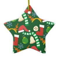 Cute Christmastime Holiday Gear Double-Sided Star Ceramic Christmas Ornament