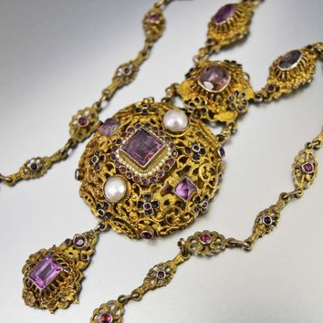 Austro Hungarian Pearl Amethyst Gold Filigree Enamel Necklace