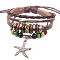 Sea Star and Silver Wood Bead Charm Pendants on Handmade Leather Infinity Bracelet