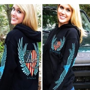 Country Life Outfitters Angel Usa Flag Heart Wings Vintage Pullover Shirt Hoodie