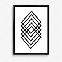 Geometric Diamond Art, Faceted Diamond, Black and White Diamond, Geometric Diamond, Printable Art, Office Decor, Apartment Decor