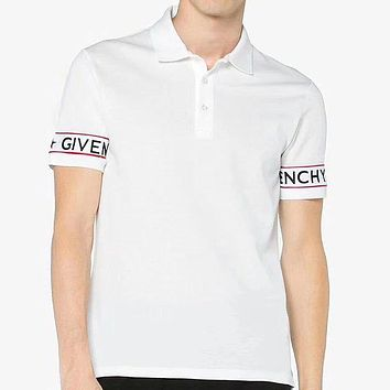 GIVENCHY 2018 summer men's high-end ribbon stitching polo shirt casual fashion tide lapel short-sleeved T-shirt F0537-1 white