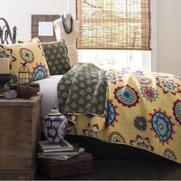 The Dria Boho Bohemian Moroccan 3 PC Yellow Bed Quilt SET