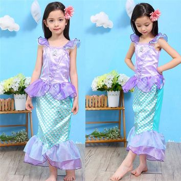 New Girls Summer Outfits Kids Mermaid Dress Halloween Ariel Cosplay Clothing Girls Party Dresses Children Fancy Ariel Dress 2018