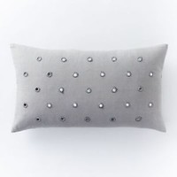 NWT West Elm Mirrored Dot Pillow Cover Light Gray