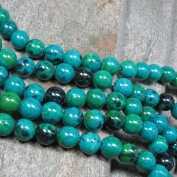 "8 mm Chrysocolla Beads, 16"" strand - Item B0862"