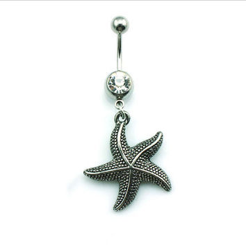 Retro Starfish Crystal Bell Button Ring Belly