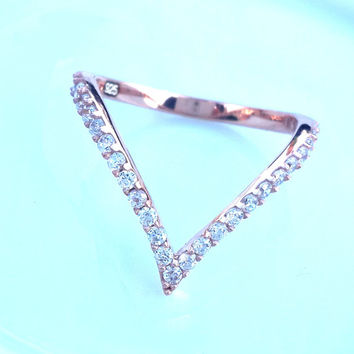 V Ring ~ Thin Gold Ring ~ V Ring Sterling Silver ~ Crystal V Ring ~ Midi ~ Above the Knuckle Rings ~ Solitaire Ring ~ Elegant Ring