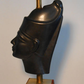 Mid Century Hollywood Regency Table Lamp Egyptian Head with Teak Base and Brass Accents