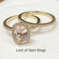 Oval Morganite Engagement Ring Sets Pave Diamond Wedding 14K Yellow Gold 6x8mm