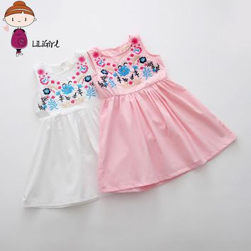 Girls Embroidered Dress 2017 New Brand Fashion Summer Girl Children Clothing for Kids Cute Casual Baby Flower Princess 2-9year