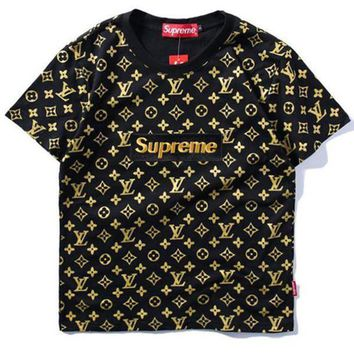 Supreme x LV Fashion Print Embroider Short Sleeve Tunic Shirt Top Blouse
