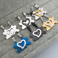 Stainless Steel Matching Puzzle Love Heart Couple Pendant Necklaces XL-0010