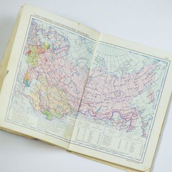 Soviet time World atlas vintage, pocket political map shabby 1972, atlas in Russian, art projects map small parts, framing maps wall art