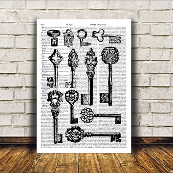 Steampunk print Skeleton keys poster Modern decor Antique art RTA49