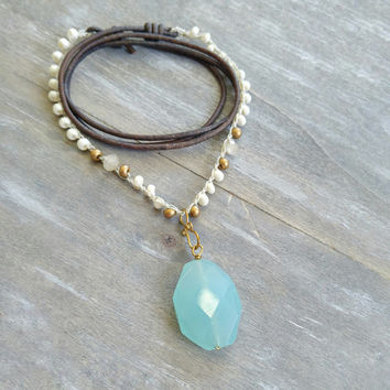 Chalcedony stone pendant necklace, boho chic, seafoam aqua gemstone necklace, long leather bohemian necklace, leather crochet wrap bracelet