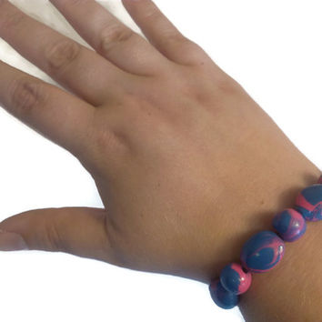 Hot Pink Bracelet, Unique Polymer Clay Jewelry, Marbled Beads, Stretch Elastic Bracelet, Blue Kawaii Colors, Proceeds to Charity