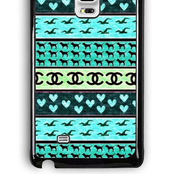 Samsung Galaxy Note Edge Case - Rubber (TPU) Cover with red hollister seagulls chanel sign hearts stripes Design