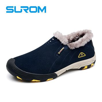 Leather men winter snow boots warm Casual Shoes men
