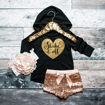 Baby Girl Hoodie Girl's Hoodie Baby Girl Clothes Shake It Off Shirt Girls' Clothes Baby Gift White And Gold Glitter Shirt #49
