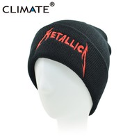 CLIMATE Men Women Winter Warm Beanie Hat Rock METALLICA ACDC Rock Band Warm Winter Knitted Beanies Hat Cap For Adult Men Women