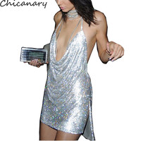 Kendall Jenner 21st Birthday Party Dress Sexy Hollow Out Deep V Neck Sequined Dress Backless Metal Neck Halter Sleeveless Dress