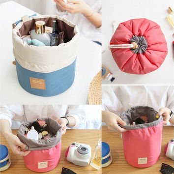 New Travel Makeup Bag Cosmetic Pouch Handbag Toiletry Antique Case Cylindrical A [10198321479]